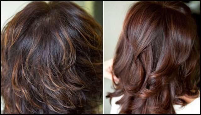 Фото колорирование волос на темные волосы фото до и после