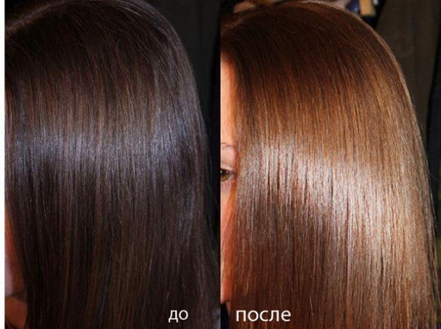 Тонирование тёмных волос фото до и после